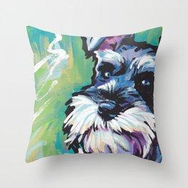 Fun Schnauzer Dog Portrait bright colorful Pop Art Painting by LEA Throw Pillow