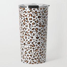 Leopard Print White Background Travel Mug