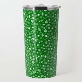 Evergreen Green & White Christmas Snowflakes Travel Mug