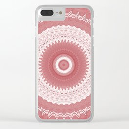 Elegant White Lace Mandala over Pink Marble Clear iPhone Case