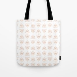 Sacred Butterfly Pattern - Rose Gold on White Tote Bag