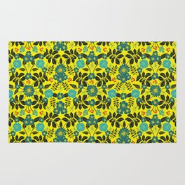 Bright Yellow, Red, Turquoise & Navy Blue Floral Pattern Rug