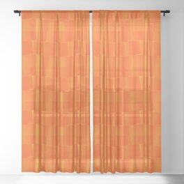 Toilet Paper Rolls Pattern in Orange and Yellow Sheer Curtain
