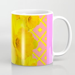 Pink Color Gold Daffodils on Coral Abstract Coffee Mug
