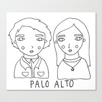 palo alto Canvas Prints featuring palo alto - teddy and april by Bethany Mannion