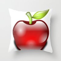 apple Throw Pillows featuring APPLE by Acus