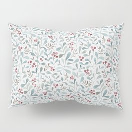 Winter flora - watercolor red berries and mistletoe leaves Pillow Sham
