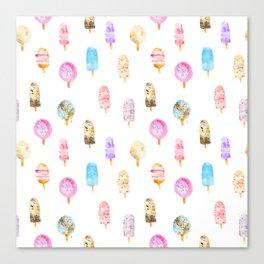 Dolce vita || watercolor ice cream summer pattern Canvas Print
