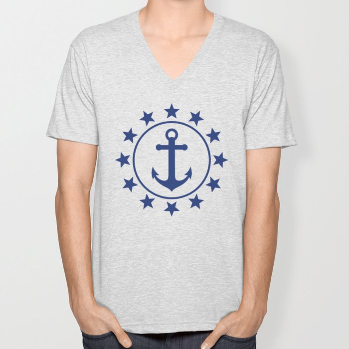 Navy Blue Anchors and Stars Nautical Pattern Unisex V-Neck