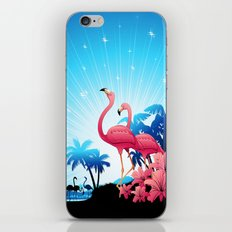 Pink Flamingos on Blue Tropical Landscape iPhone & iPod Skin