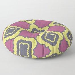Quatrefoil - mauve, blue and yellow Floor Pillow