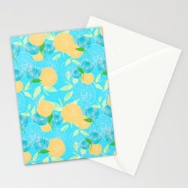 06 Yellow Blooms on Blue Stationery Cards