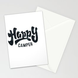HAPPY CAMPER Black and White Retro Stationery Cards