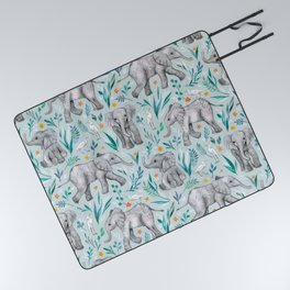 Baby Elephants and Egrets in Watercolor - egg shell blue Picnic Blanket