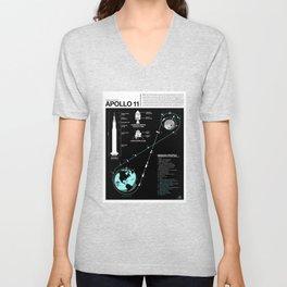 Apollo 11 Mission Diagram Unisex V-Neck