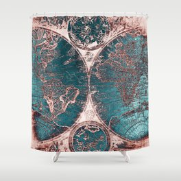 Antique World Map Pink Quartz Teal Blue by Nature Magick Shower Curtain
