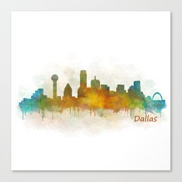 Dallas Texas City Skyline watercolor v03 Canvas Print