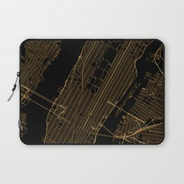 Black and gold New York City map Laptop Sleeve