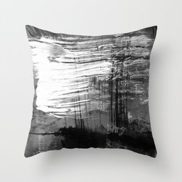 Spectral // black and white abstract ink painting Throw Pillow