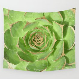 Cactus Green Succulent with Faux Gold Tips Wall Tapestry