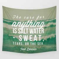 salt water Wall Tapestries featuring Salt Water Cure by Olivia Joy StClaire