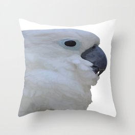 Side Portrait Of A Blue-Eyed Cockatoo Isolated Throw Pillow