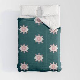 Evil Eye Dots – Teal & Pink Comforters