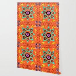 Talavera Tile Orange Wallpaper