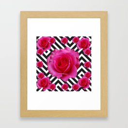 CONTEMPORARY  PINK ROSES B&W ABSTRACT Framed Art Print