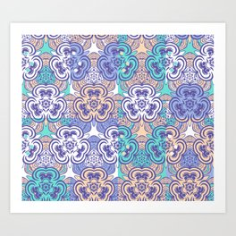 Retro Floral Pattern 09 Art Print
