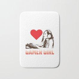 Gamer Girl with Heart Bath Mat