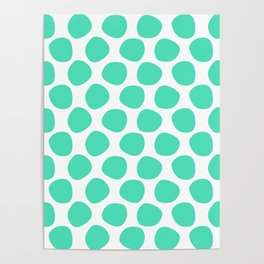 Menthol green and white large polka dots pattern Poster