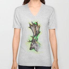 Fallow deer / watercolor painting / fineliner Unisex V-Neck