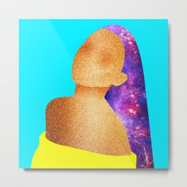 Glitter Galaxy Girl Metal Print