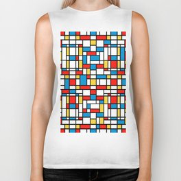 Mondrian design, abstract pattern Biker Tank
