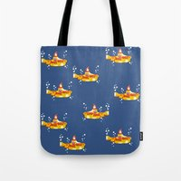 yellow submarine Tote Bags featuring Fabric Yellow Submarine by AnnaCas