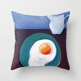 Scrambled eggs and jug. Throw Pillow