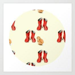 Red Welly & Rabbit  Art Print