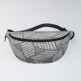 Japanese style wood carving pattern in gray Fanny Pack