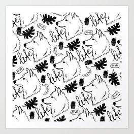 Black white hand drawn wolf floral typography Art Print
