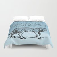 literary Duvet Covers featuring White Fang - Jack London - Literary Art by pennyprintables