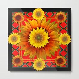 RED-BLACK  KANSAS SUNFLOWERS DECO ART Metal Print