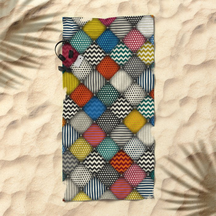 buttoned patches Beach Towel