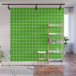 Kelly green - green color - White Lines Grid Pattern Wall Mural