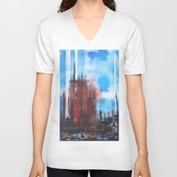 cityscape V-neck T-shirts featuring Cityscape by Alfred Raggatt