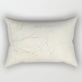 Minimal New York City Subway Map Rectangular Pillow