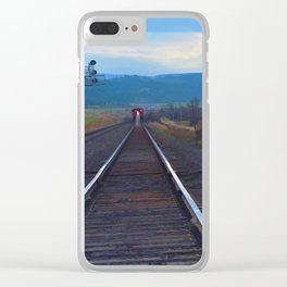 Wrong Side of the Track - Oncoming Train Clear iPhone Case