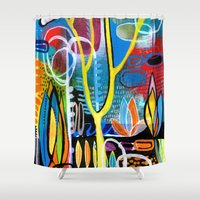mid century Shower Curtains featuring Mid Century Modern Landscape by Rookery Design