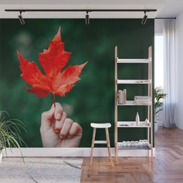 Bright Red Leaf (Color) Wall Mural