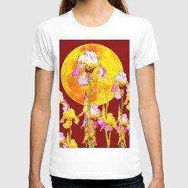 BURGUNDY SKY IRIS GARDEN RISING GOLDEN MOON T-shirt